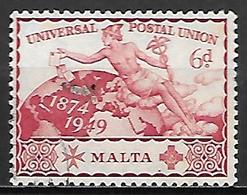 MALTE    -   1949 .   Y&T N° 220 Oblitéré.   U.P.U. - Malte (...-1964)
