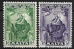MALTE    -   1951 .   Y&T N° 225 / 226 Oblitérés - Malte (...-1964)