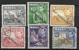 MALTE    -   1953 .   Y&T N° 228 à 233 Oblitérés.   Self-Gouvernement .  Série Complète - Malte (...-1964)