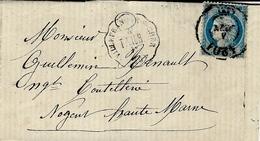 1872- Enveloppe De VILLEFRANCHE-s-CHER ( Loir Et Cher )caf Conv. Stat. T VIER Affr. N°60 Oblit. Bureau De Passe 4201 - Postmark Collection (Covers)