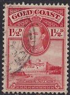 Gold Coast 1938 - 44 KGV1 1 1/2d Scarlet SG 122 ( J1090 ) - Côte D'Or (...-1957)