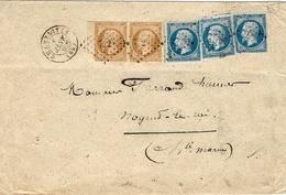 1862- Enveloppe De CHAMPLITTE ( Hte Saône ) Cad T15  Affr. Paire N°13 Bord De Feuille + N°14 X 3 Oblit. P C 722 - Marcophilie (Lettres)