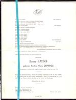 Devotie - Doodsbrief - Overlijden - Mevr. Leon Embo - Bertha Deprince - Handzame 1903 - Gent 1972 - Décès