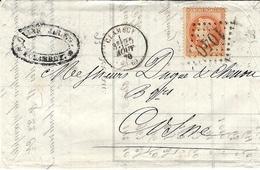 1870- Lettre De CLAMECY ( Yonne ) Cad T16 Affr. N°31  SEUL Oblit. G C 1040 - Marcophilie (Lettres)