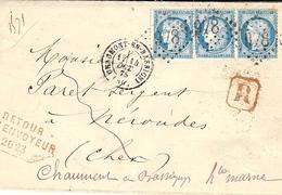 1875- Lettre Recc. De Chaumont-en-Bassigny ( Hte Marne ) Cad T17 Affr.  N°60 X 3 Hoblit. G C 978+ Retour 2623 Rouge - Marcophilie (Lettres)