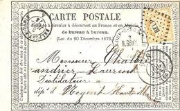 1873- C P Précurseur De St-Loup-s-Semouse ( Hte Saône ) Cad Conv. Stat. N.GRAY + Cad Bureau De Passe 978 Affr.n°59 - Marcophilie (Lettres)