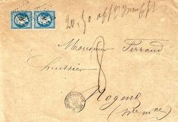 "1863- Env. De Chaumont-en-Bassigny ( Hte Marne ) Cad T15 Affr. N°22 X 2 "" 20,50 Affr. Insuffisant ""  TAXEE  8 D - Marcophilie (Lettres)"