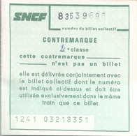 SNCF - Contremarque - Chemins De Fer