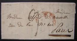 1832 Lettre Pour Madame Alfred De Neuville De La Part De Son Frère, Cachet Rouge à Identifier, Frappé à Moitié ... - Marcophilie (Lettres)