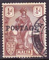 MALTA 1926 KGV 1/4d Brown SG143 Used - Malte (...-1964)