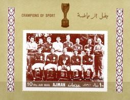 Ajman Block 49  WM 66  Adr. World Champion Englische Nationalmannschaft **/MNH - Fußball-Weltmeisterschaft