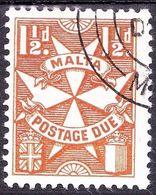 MALTA 1953 1.5d Yellow-Brown Postage Due SGD23 FU - Malte (...-1964)