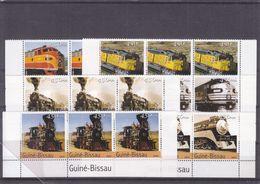 Trains - Guinée Bissau - Yvert 1708 / 13 ** - Locomotives - Bande De 3 - Valeur 40,50 Euros - Trains