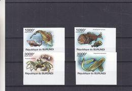Burundi - COB 1222 / 5 ** - NON Dentelé - Poissons - Requins - Crabes - Coin Inférieur Droit - Valeur 37 Euros - Burundi