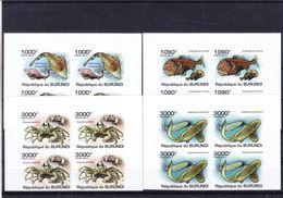 Burundi - COB 1222 / 5 ** - NON Dentelé - Poissons - Requins - Crabes - Bloc De 4 - Valeur 148 Euros - Burundi