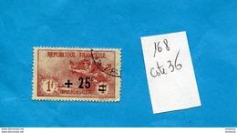 France1922---N°168 Orphelin +25sur 1+1-oblitérés Cote 36eu - France