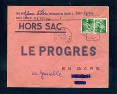 Hors Sac Le Progrès Grenoble St Egrève Isère 1961 1231 Moissonneuse Tarif 20c - Postmark Collection (Covers)