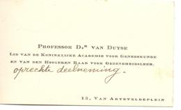 Visitekaartje - Carte Visite - Professor Dr. Van Duyse  - Gent - Cartes De Visite