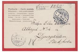 SUEDE-1904- CARTE  POSTALE DE GÖTEBORG POUR STOCKHOLM -- TAXE AU TAMPON A 12 ÖRE -- - Suède