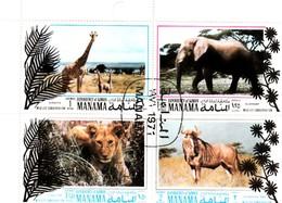 MANAMA - AJMAN - BAHREÏN / PLANCHE De 4 TIMBRES ANIMAUX SAUVAGES - Bahreïn (1965-...)