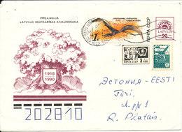 Latvia Uprated Postal Stationery Cover Sent To Estonia 10-8-1991 - Lettonie