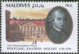 Mozart, Member Masonic Lodge Zur Wohltätigkeit, Schwarzenberg Palace, Freemasonry, Composer, Opera, MNH Maldives - Musique