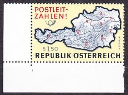 AUSTRIA 1966, COMPLETE SET, MNH WITH PLATE NUMBER 1 , Michel 1201. POST CODES. Condition, See The Scans. - 1945-.... 2ème République
