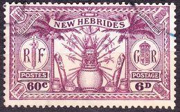 NEW HEBRIDES 1925 6d (60c) Purple SG48 FU Cat £16 - English Legend