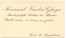 Visitekaartje - Carte Visite - Kanunnik Van Den Gheyn - Gent - Cartes De Visite