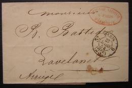 Paris 1854 Comptoir National D'escompte En Rouge, Lettre Pour Lavelanet (Ariège), Voir Cachet Dateur - Marcophilie (Lettres)