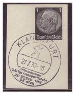 Dt-Reich (007251) Sonderstempel Auf Briefstück, Klagenfurt, Internationale Wörterseesportwoche, Gestempelt Am 27.7.1939 - Deutschland