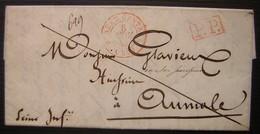 Paris 1843 Bureau Central En Rouge, Port Payé, Lettre Pour Aumale - 1801-1848: Vorläufer XIX