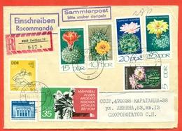 GDR 1974.Registered Envelope Passed The Mail. - Cactusses