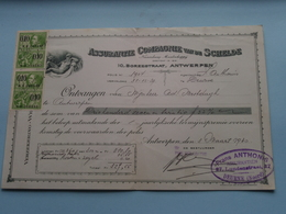 Assurantie Compagnie Van De SCHELDE Borzestraat Antwerpen ( Reçu / Mandat / Premie ) Anno 1930 ( Zie/voir Photo) ! - Bills Of Exchange