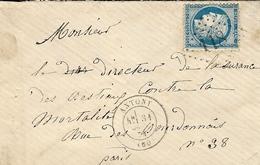 1874-enveloppe D'ANTONY ( Hauts De Seine ) Cad T17 Affr. N°60 Oblit. G C 118 - Marcophilie (Lettres)