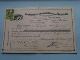 Assurantie Compagnie Van De SCHELDE Borzestraat Antwerpen ( Reçu / Mandat / Premie ) Anno 1929 ( Zie/voir Photo) ! - Lettres De Change