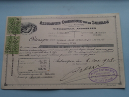 Assurantie Compagnie Van De SCHELDE Borzestraat Antwerpen ( Reçu / Mandat / Premie ) Anno 1928 ( Zie/voir Photo) ! - Bills Of Exchange