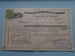 Assurantie Compagnie Van De SCHELDE Borzestraat Antwerpen ( Reçu / Mandat / Premie ) Anno 1928 ( Zie/voir Photo) ! - Lettres De Change