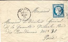 1874-enveloppe D' EVRECY ( Calvados ) Cad T16 Affr. N°60 Type II  Oblit. G C 1453 - Marcophilie (Lettres)
