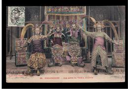 INDOCHINA Une Scene Du Theatre Annamite Ca 1910 OLD POSTCARD 2 Scans - Vietnam