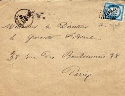 1874- Enveloppe De DOULLENS ( Somme ) Cad T16 Affr. N°60 Type II Oblit. G C 1342 - Marcophilie (Lettres)