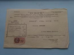 """"""" ZURICH """" ( Assurances ) France / Afrique Du Nord > Paris & Alger ( Reçu / Mandat ) Anno 1926 ( Zie/voir Photo) ! - Lettres De Change"""