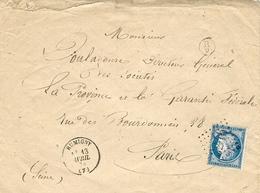 1874- Enveloppe De RUMIGNY ( Ardennes ) Cad T16 Affr. N°60 Type II  Oblit. G C 3246 - Marcophilie (Lettres)