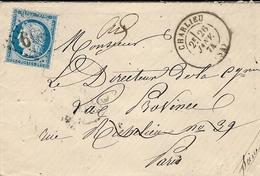 1874- Enveloppe De CHARLIEU ( Loire ) Cad T17 Affr. N°60 Type II  Oblit. G C 899 - Marcophilie (Lettres)