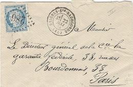 1874- Enveloppe De BAIGNES-Ste-RADEGONDE ( Charente ) Cad T17 Affr. N°60 Type II Oblit. G C 286 - Marcophilie (Lettres)