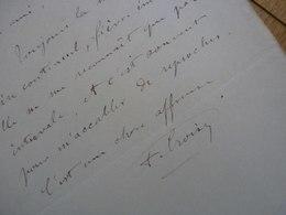 Aristide CROISY (1840-1899) Sculpteur. BEAUX ARTS. Château Versailles. AUTOGRAPHE - Autographes