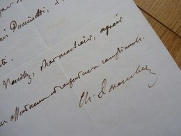 Charles DAREMBERG (1817-1872) Historien Médecine. BIBLIOTHEQUE Mazarine. AUTOGRAPHE à Charles Jourdain - Autographes