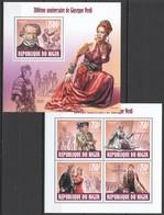 WW128 2013 NIGER FAMOUS PEOPLE 200TH ANNIVERSARY GIUSEPPE VERDI 1KB+1BL MNH - Musique