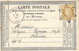 1874- Superbe  C P Précurseur  Cad D' ARPAJON  Conv. Stat. T.P. ( 72 ) Affr. N°55 Oblit. étoile Pleine - Marcophilie (Lettres)
