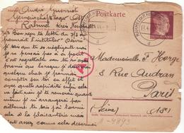 PRISONNIER DE GUERRE 40 45 CARTE USEE HITLER STALAG LAGER RAHMEL VERS  PARIS CENSURE OKW AE - Militaria